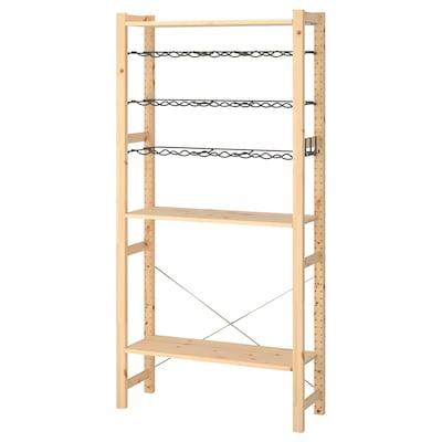 IVAR 1 Element/Böden/Flaschbord, Kiefer/grau, 89x30x179 cm