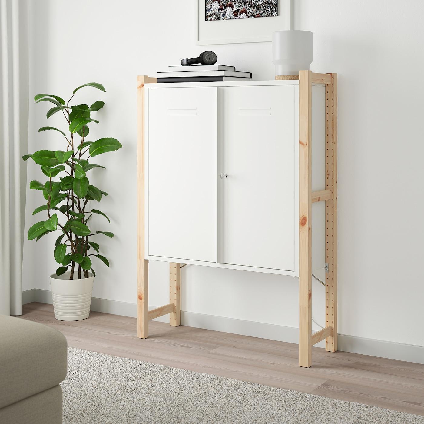 IVAR Schrank mit Türen Kiefer/weiß 89 cm 30 cm 124 cm