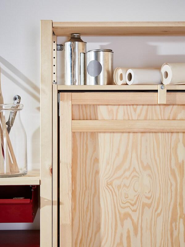 IVAR Regal + Tisch/Schränken/Schubladen, Kiefer/rot, 175x30-104x179 cm