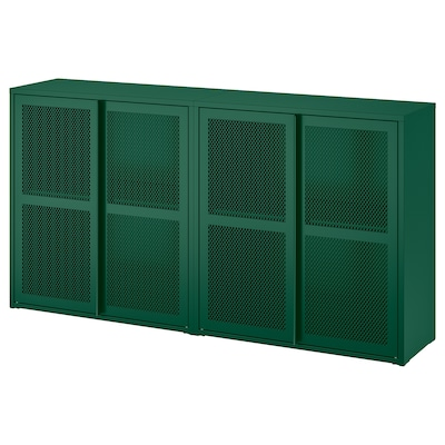 IVAR Schrank mit Türen, grün Netz, 160x30x83 cm