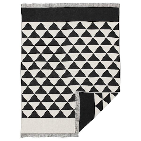 JOHANNE Plaid, schwarz/naturfarben, 130x170 cm
