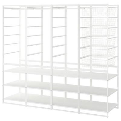 JONAXEL Rahmen/Drahtkörbe/Kleidersta/Böden, weiß, 198x51x173 cm