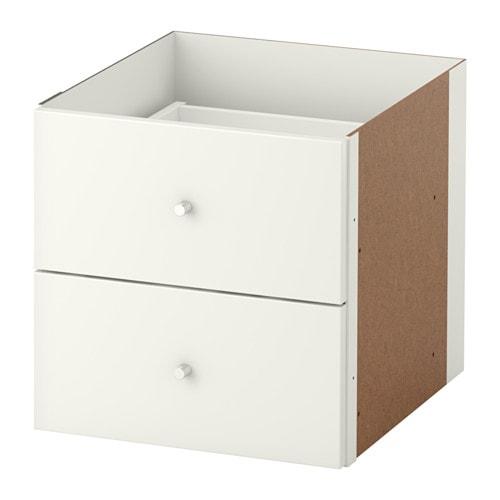 kallax einsatz mit 2 schubladen hochglanz wei ikea. Black Bedroom Furniture Sets. Home Design Ideas
