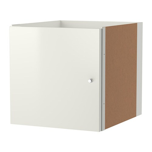 kallax einsatz mit t r hochglanz wei ikea. Black Bedroom Furniture Sets. Home Design Ideas