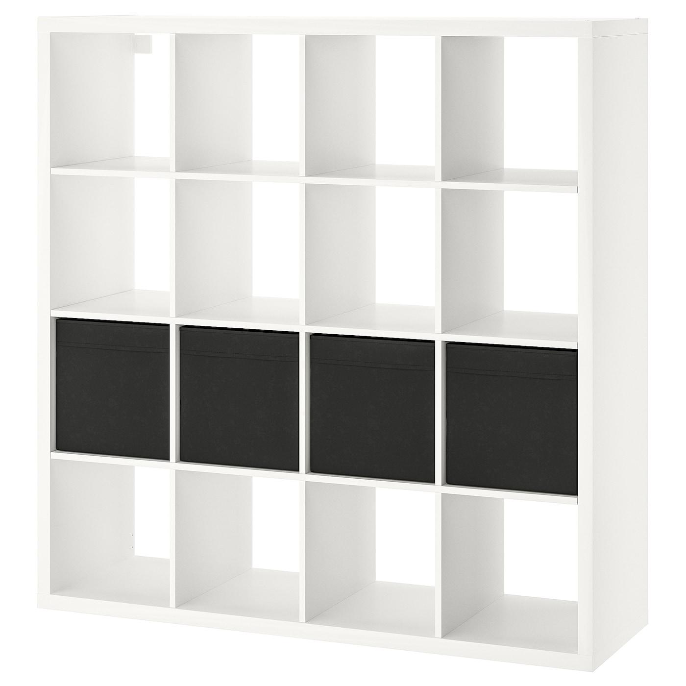 KALLAX Regal mit 4 Einsätzen, weiß, 147x147 cm. Hier kaufen