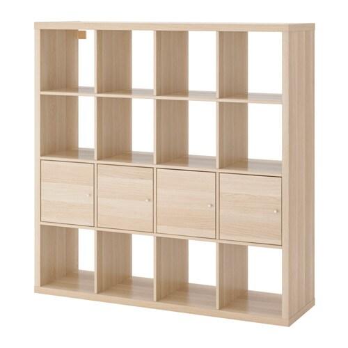 kallax regal mit 4 eins tzen eichenachbildg wei las ikea. Black Bedroom Furniture Sets. Home Design Ideas