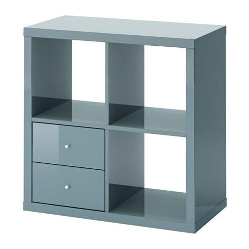 kallax regal mit schubladen hochglanz graut rkis ikea. Black Bedroom Furniture Sets. Home Design Ideas