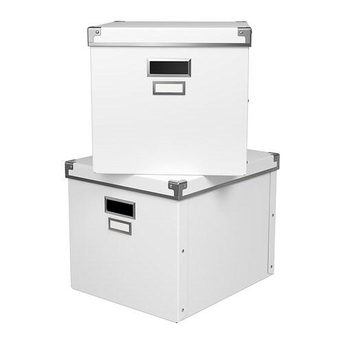 kassett box mit deckel wei 33x38x30 cm ikea. Black Bedroom Furniture Sets. Home Design Ideas