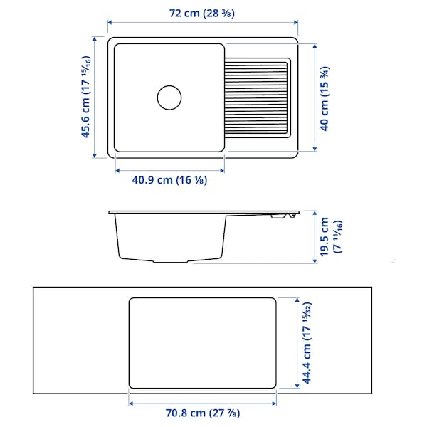 KILSVIKEN Einbausp 1 B/Abtr, schwarz/Quarzkomposit, 72x46 cm