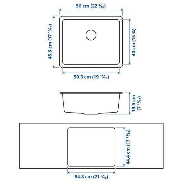 KILSVIKEN Einbauspüle, 1 Becken, grau/beige Quarzkomposit, 56x46 cm