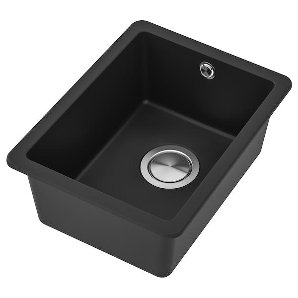 KILSVIKEN Einbauspüle, 1 Becken, schwarz/Quarzkomposit, 36x46 cm