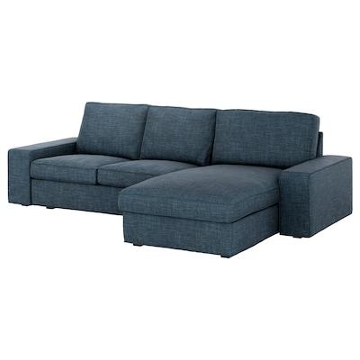 KIVIK 3er-Sofa, mit Récamiere/Hillared dunkelblau
