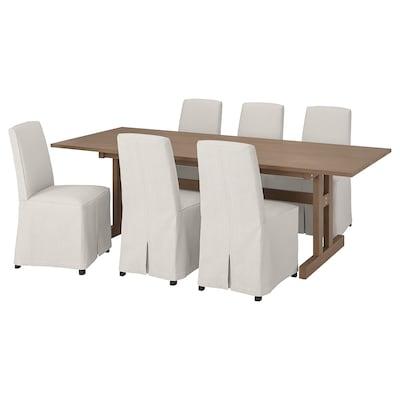 KLIMPFJÄLL / BERGMUND Tisch und 6 Stühle, graubraun/Kolboda beige/dunkelgrau, 240x95 cm