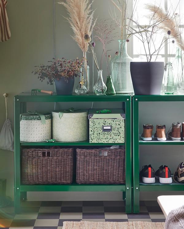KOLBJÖRN Regal innen/außen, grün, 80x81 cm