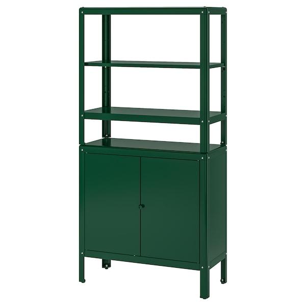 KOLBJÖRN Regal mit Schrank, grün, 80x37x161 cm