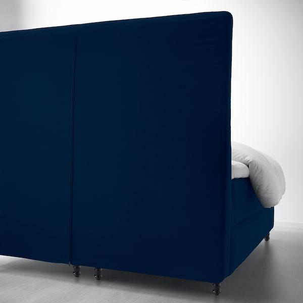 KONGSFJORD Boxspringbett, Hyllestad mittelfest/Tustna Djuparp dunkel grünblau, 160x200 cm