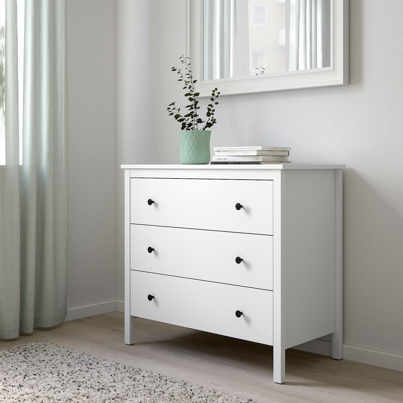 KOPPANG Kommode mit 3 Schubladen, weiß, 90x83 cm