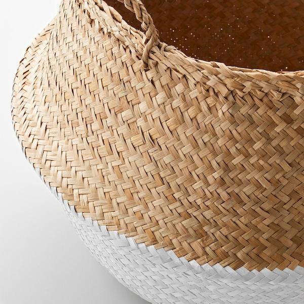 KRALLIG Korb, Seegras/weiß, 25 cm
