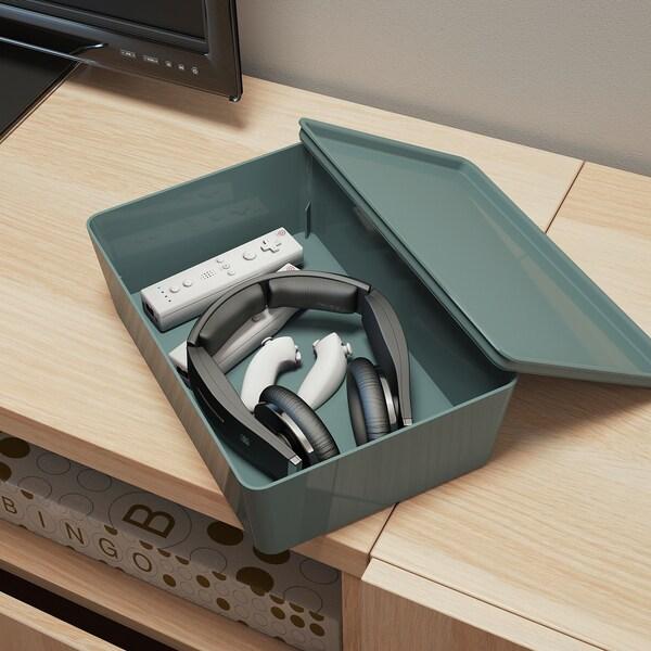 KUGGIS Box mit Deckel, türkis, 18x26x8 cm