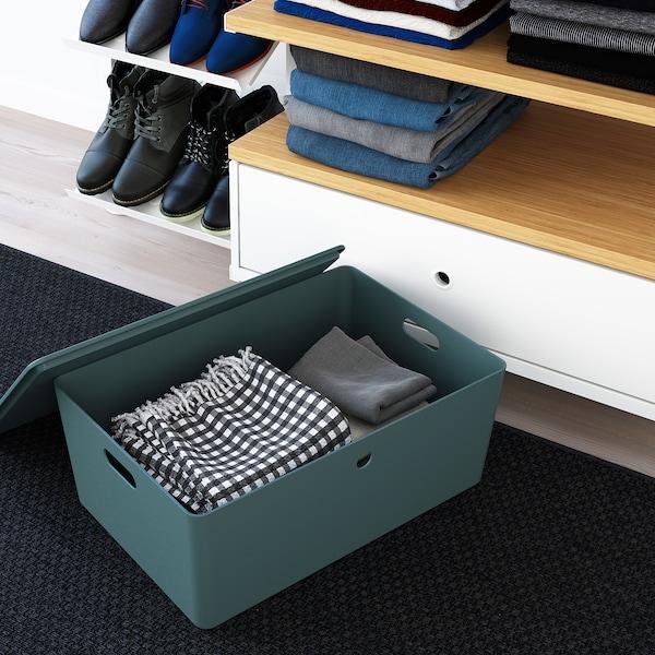 KUGGIS Box mit Deckel, türkis, 37x54x21 cm