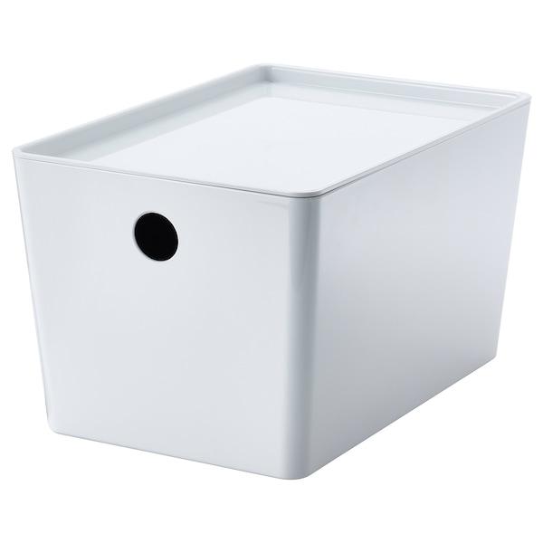 KUGGIS Box mit Deckel, weiß, 18x26x15 cm