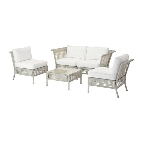 kungsholmen kungs 4er sitzgruppe au en hellgrau wei ikea. Black Bedroom Furniture Sets. Home Design Ideas