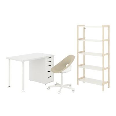 LAGKAPTEN/ELDBERGET / EKENABBEN Schreibtisch+Aufbewahrungskombi, und Drehstuhl beige/weiß