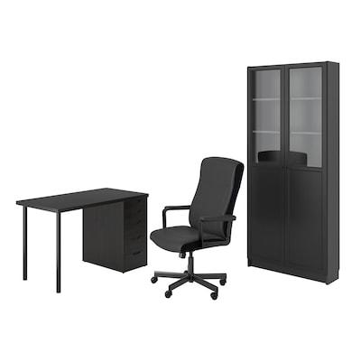LAGKAPTEN/MILLBERGET / BILLY/OXBERG Schreibtisch+Aufbewahrungskombi, und Drehstuhl schwarzbraun/schwarz