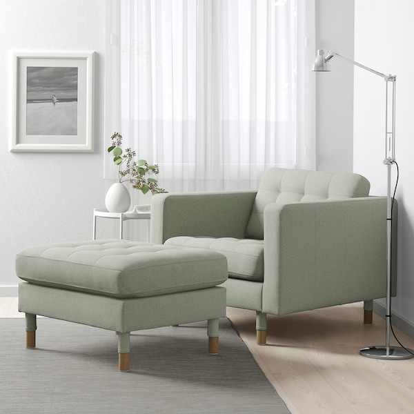LANDSKRONA Hocker, Gunnared hellgrün/Holz
