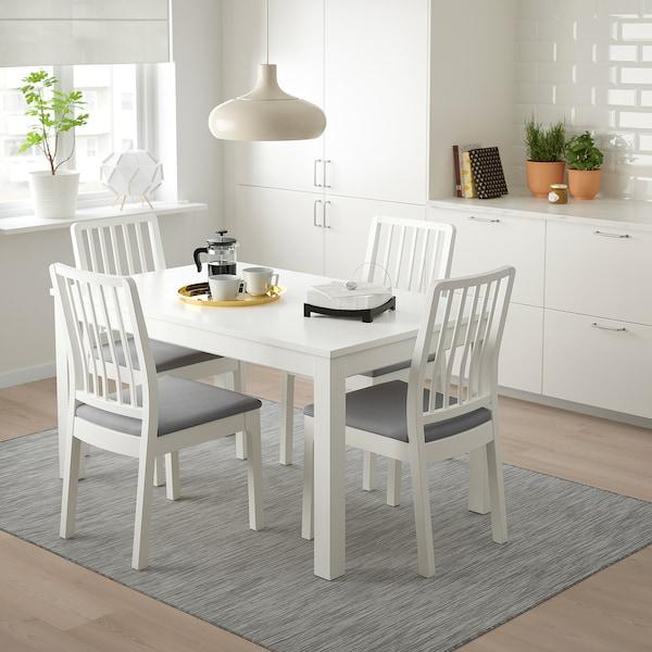 LANEBERG / EKEDALEN Tisch und 4 Stühle, weiß/weiß hellgrau, 130/190x80 cm