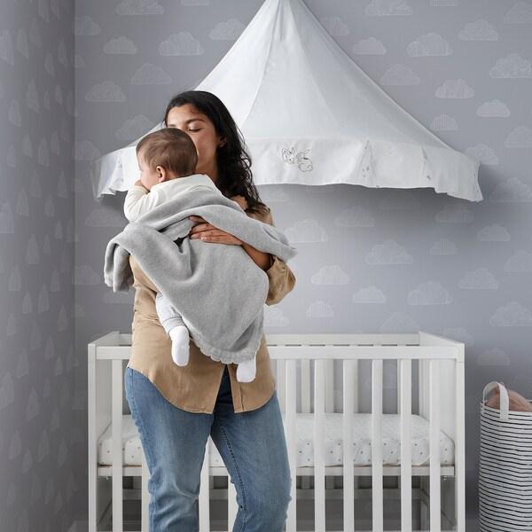 LEN Babydecke, gestrickt/grau, 70x90 cm