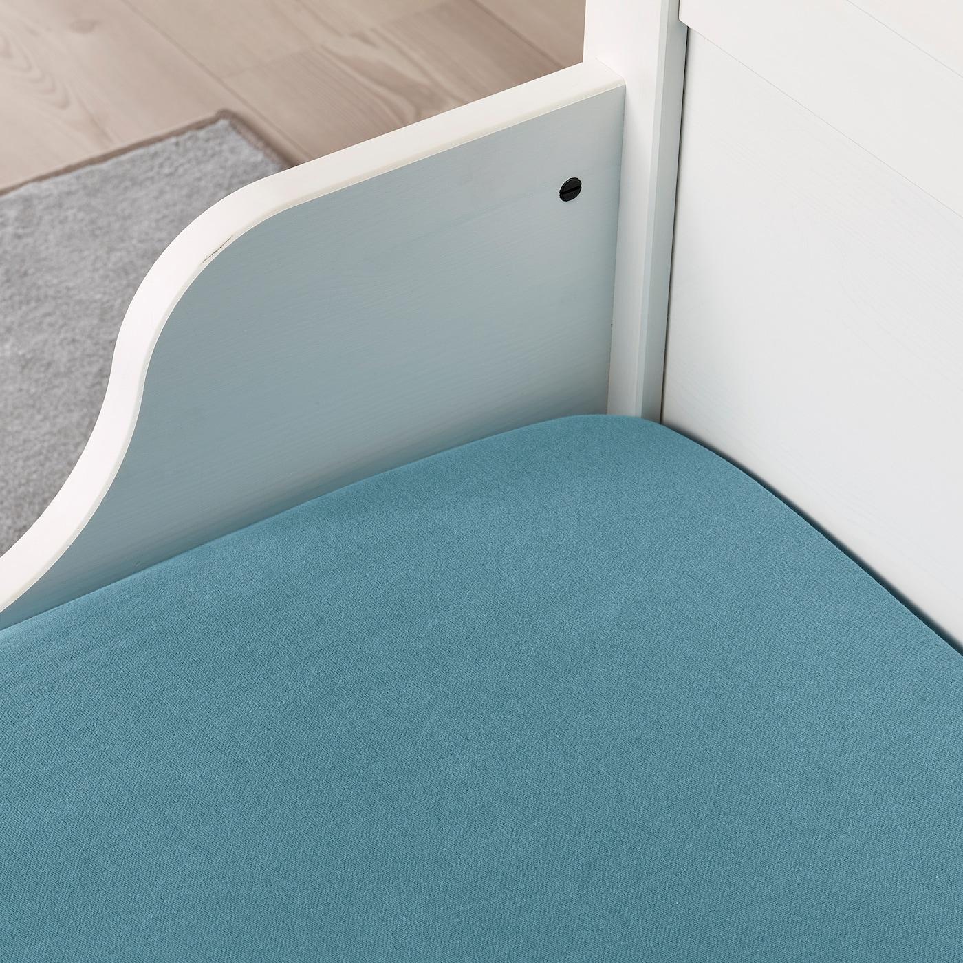Bettlaken Baby Kinderbett IKEA LEN Spannlaken für ausziehbares Bett weiß 2tlg
