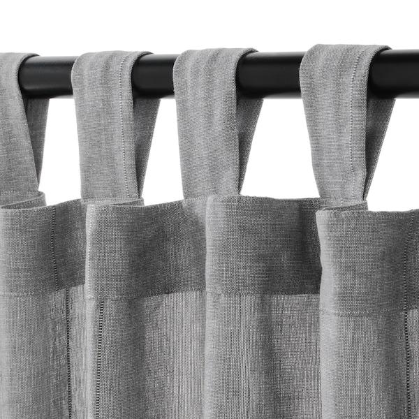 LENDA 2 Gardinen + Raffhalter, grau, 140x300 cm