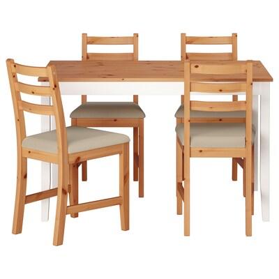 LERHAMN Tisch und 4 Stühle, Antikbeize hell weiß gebeizt/Vittaryd beige, 118x74 cm