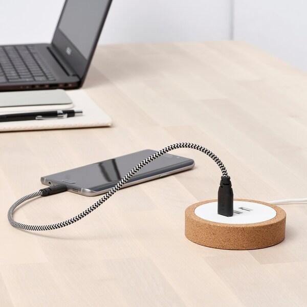 LILLHULT Micro-USB auf USB-Kabel, schwarz/weiß, 0.4 m