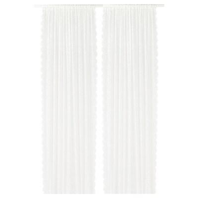 LILLYANA Gardinenstore/Paar, weiß/Blume, 145x300 cm