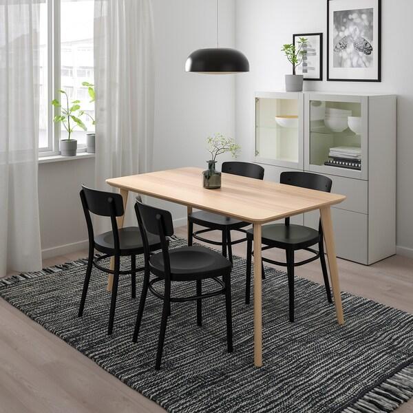LISABO / IDOLF Tisch und 4 Stühle, Eschenfurnier/schwarz, 140x78 cm