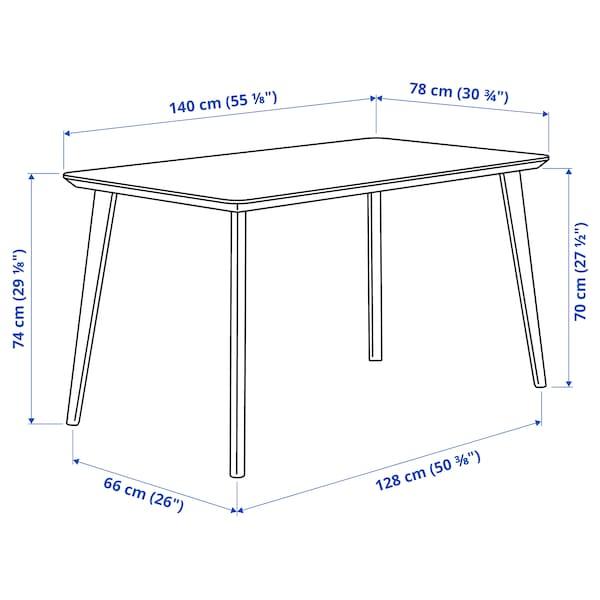 LISABO / ODGER Tisch und 4 Stühle, Eschenfurnier/anthrazit, 140x78 cm