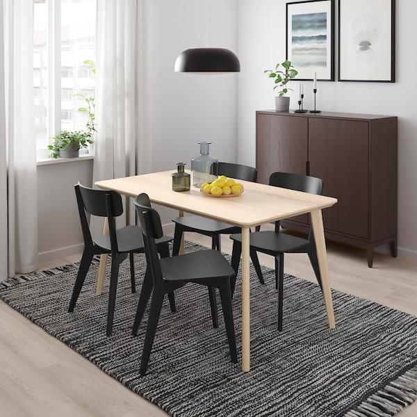 LISABO / LISABO Tisch und 4 Stühle, Eschenfurnier/schwarz, 140x78 cm