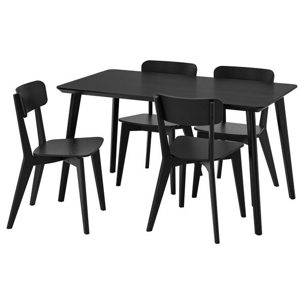 LISABO / LISABO Tisch und 4 Stühle, schwarz/schwarz, 140x78 cm