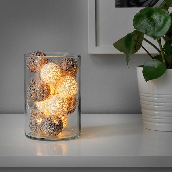 LIVSÅR Lichterkette (12), LED, innen/batteriebetrieben grau/weiß