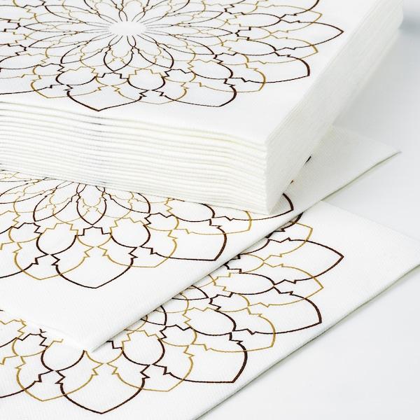 LJUVARE Papierserviette, weiß/beige, 33x33 cm