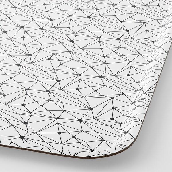 LURVIG Tablett, weiß/schwarz, 43x33 cm