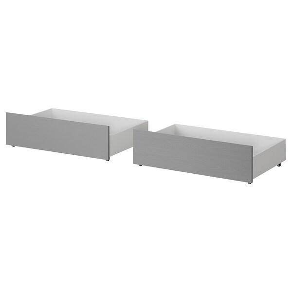 MALM Bettkasten für Bettgestell hoch grau lasiert 2 Stück 200 cm