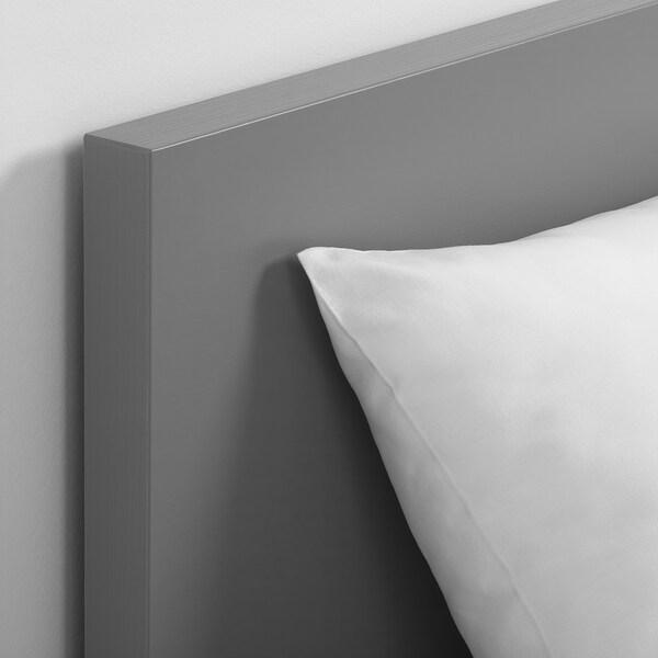 MALM Bettgestell hoch mit 4 Schubladen, grau las., 140x200 cm