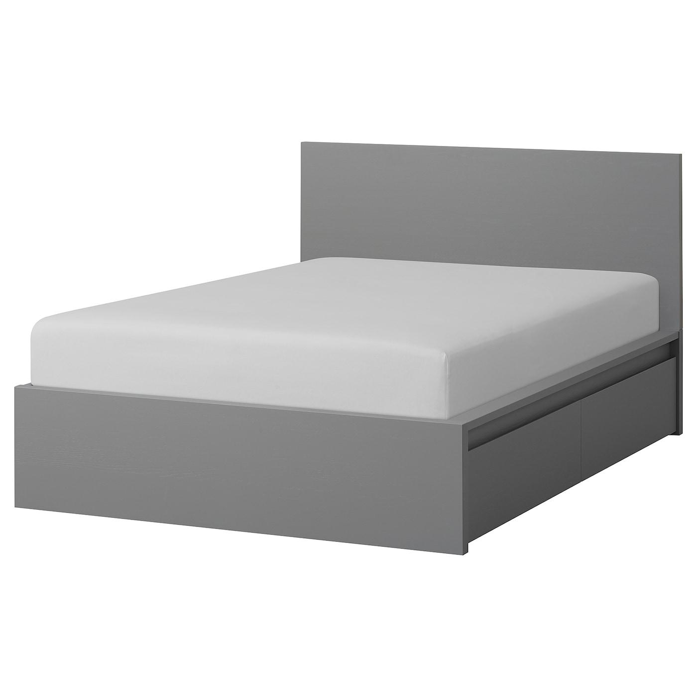 Malm Bettgestell Hoch Mit 4 Schubladen Grau Las Ikea Osterreich