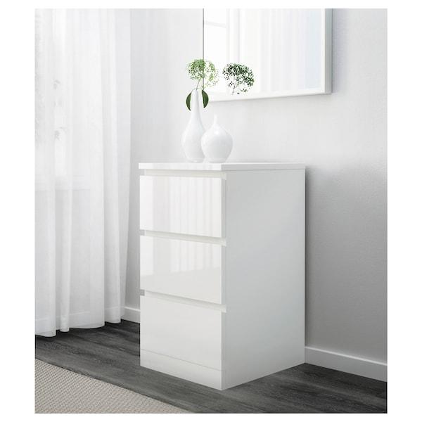 MALM Kommode mit 3 Schubladen, Hochglanz weiß, 40x78 cm