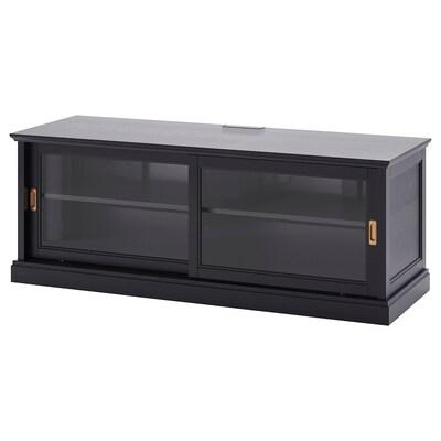 MALSJÖ TV-Bank+Schiebetüren, schwarz gebeizt, 160x48x59 cm