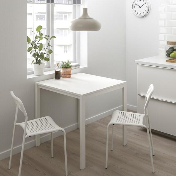 MELLTORP / ADDE Tisch und 2 Stühle, weiß, 75 cm
