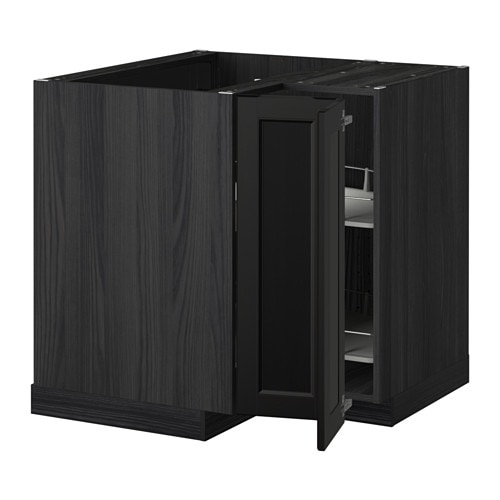 metod eckunterschrank karussell holzeffekt schwarz laxarby schwarzbraun ikea. Black Bedroom Furniture Sets. Home Design Ideas